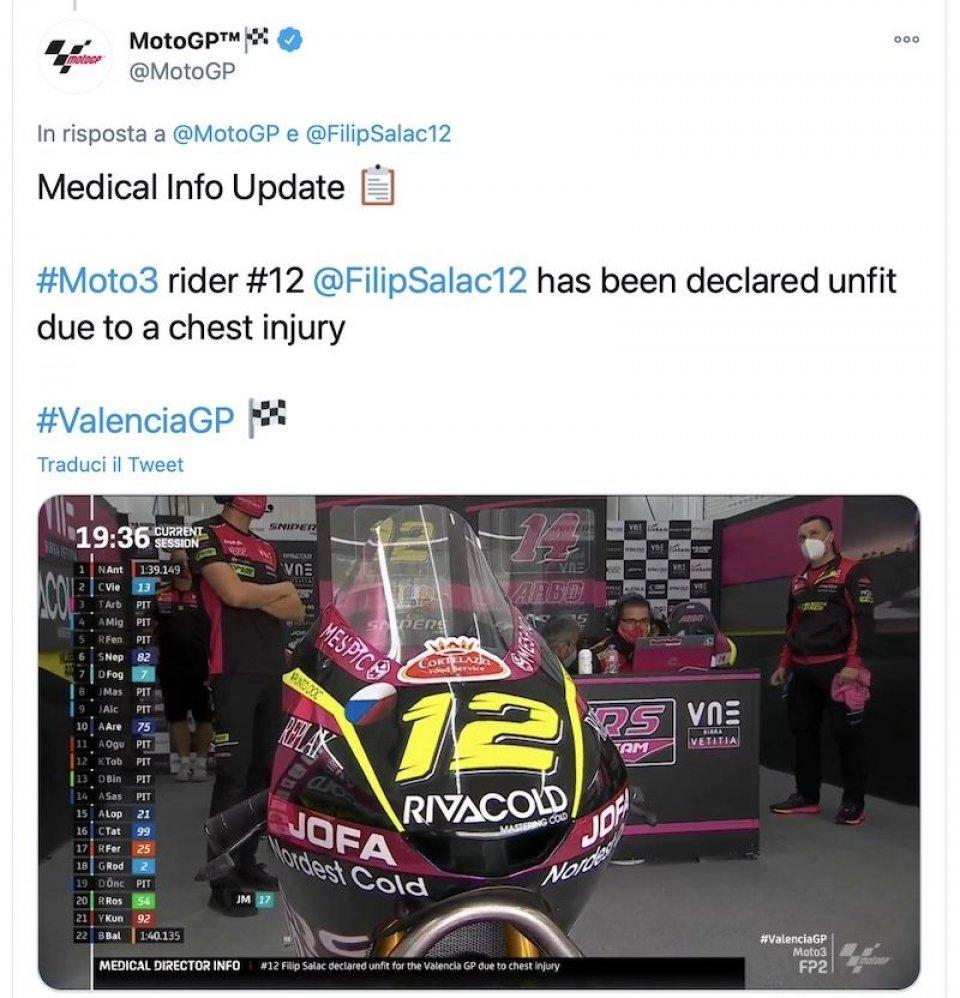 Moto3: Salac non correrà il GP di Valencia dopo la caduta nelle FP1
