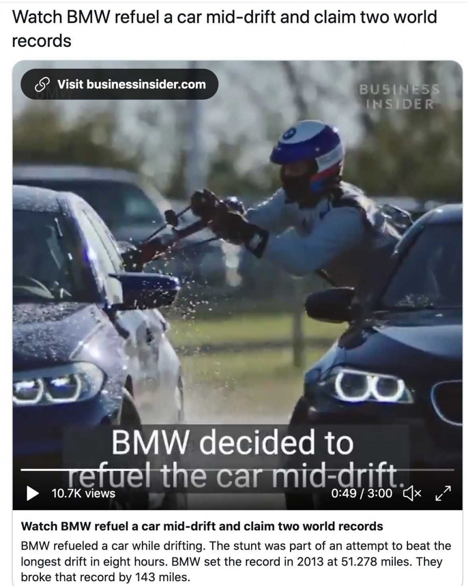 Auto - News: Watch BMW refuel a car mid-drift and claim two world records