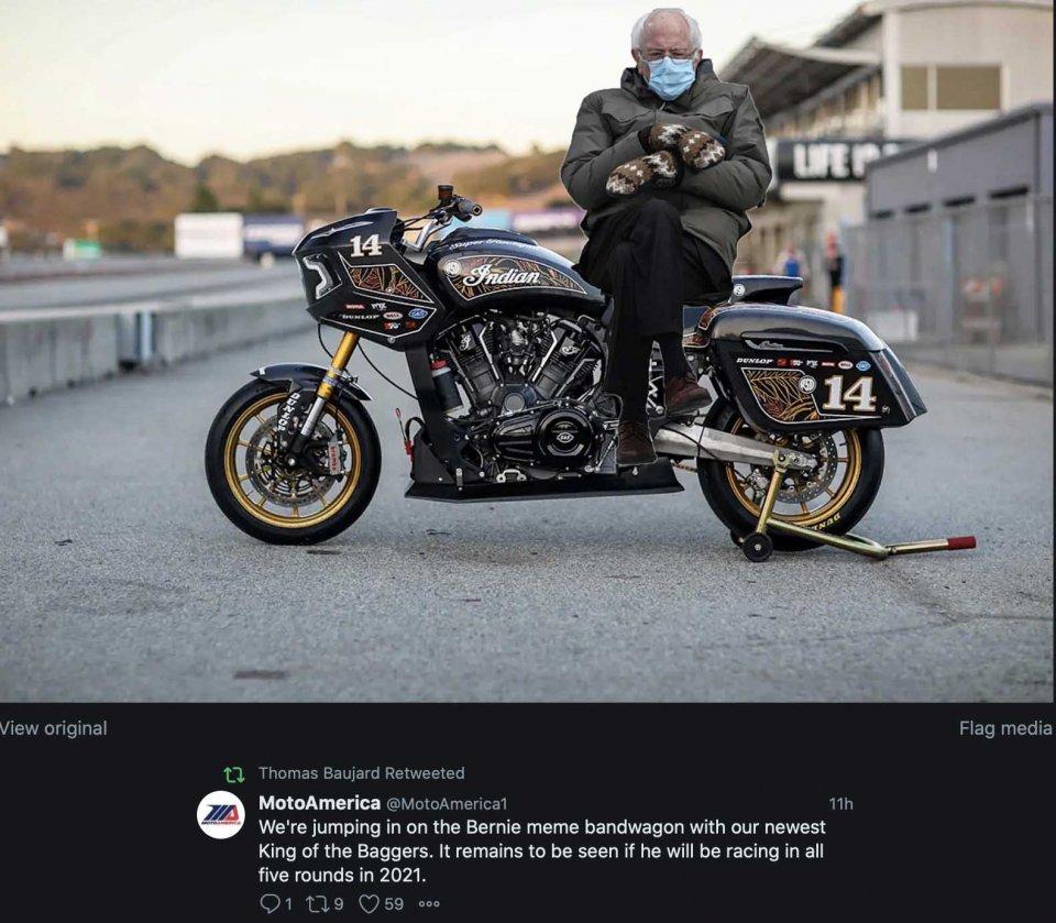 MotoAmerica: Bernie Sanders wildcard in 'King of Baggers' in MotoAmerica, o a Vallelunga