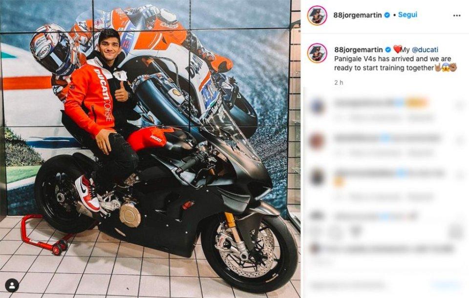 MotoGP: Jorge Martin riceve la sua prima Ducati: una Panigale V4S per allenarsi