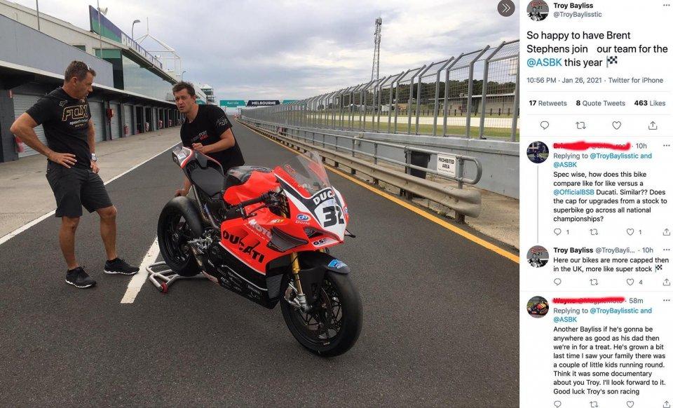 SBK: L'ex meccanico di Rossi, Brent Stephens, lavorerà con Bayliss