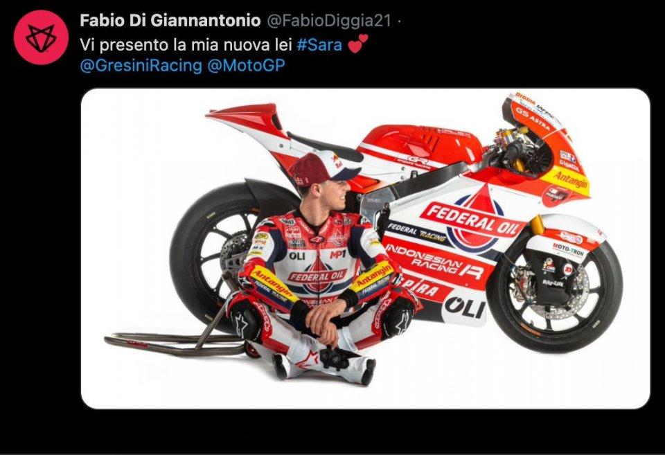 "Moto2: Fabio Di Giannantonio: ""Meet my new her, her name is Sara"""