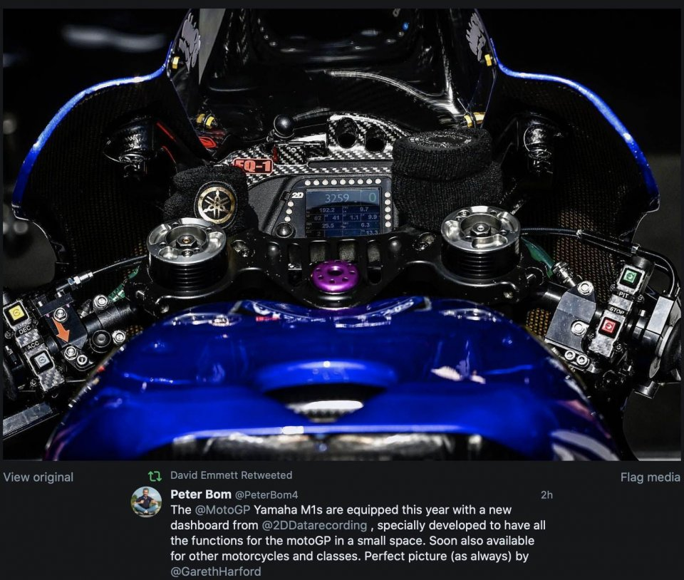 MotoGP: Nuovo cruscotto digitale da 2D per le Yamaha di Rossi & soci