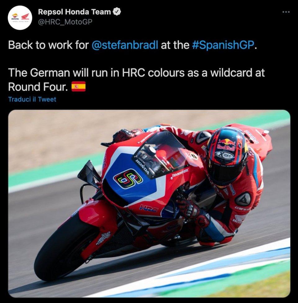 MotoGP: Colori ufficiali HRC per Stefan Bradl, wildcard a Jerez