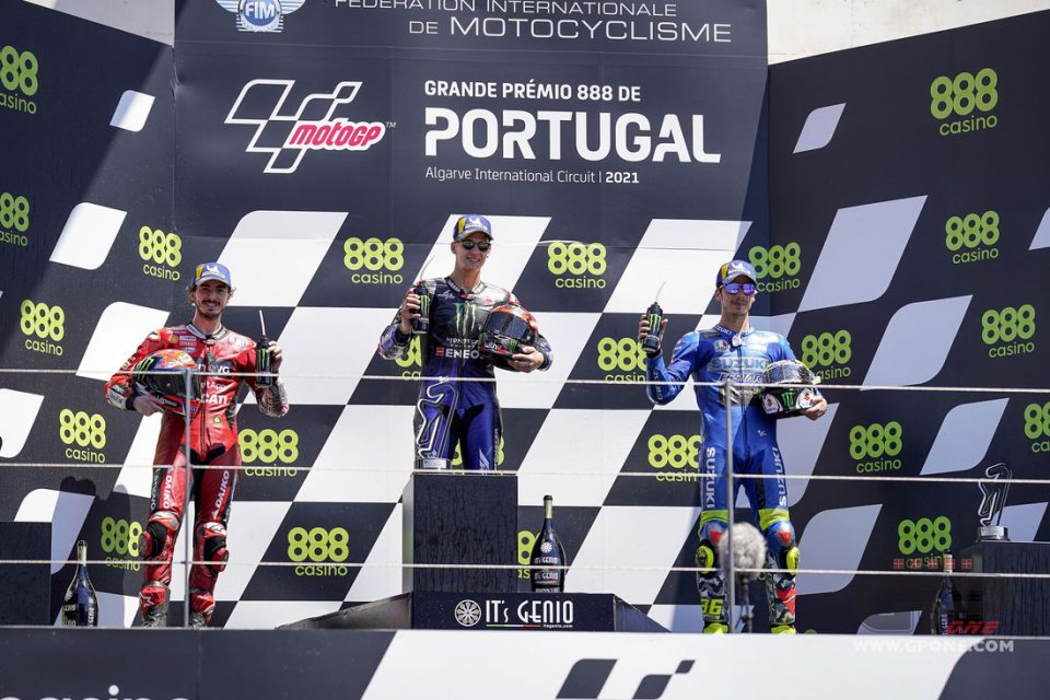 MotoGP: Quartararo, Bagnaia and Mir: on the podium in Portimão and in command in the garage