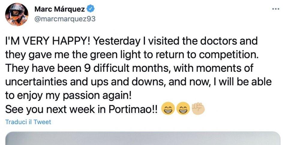 """MotoGP: Marquez: """"9 mesi difficili, ora potrò godermi ancora la mia passione"""""""