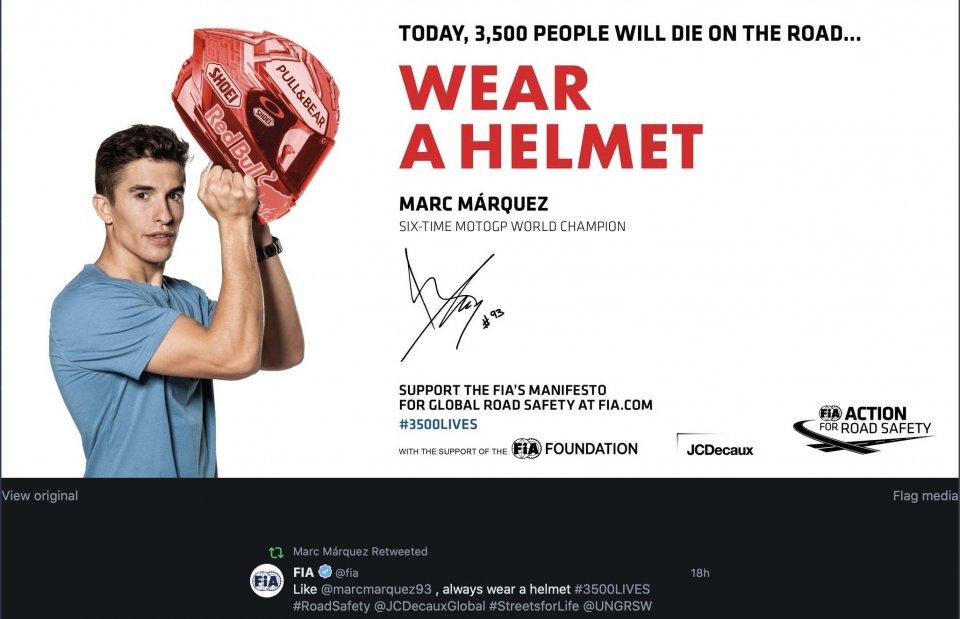 MotoGP: La FIA e non la FIM sceglie Marquez per una Campagna per la sicurezza!