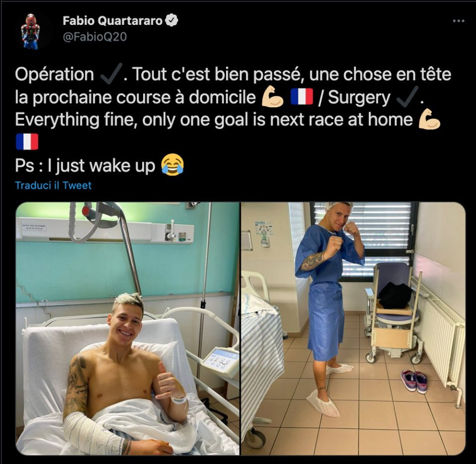 "MotoGP: Quartararo had surgery on his arm: ""everything went well"""
