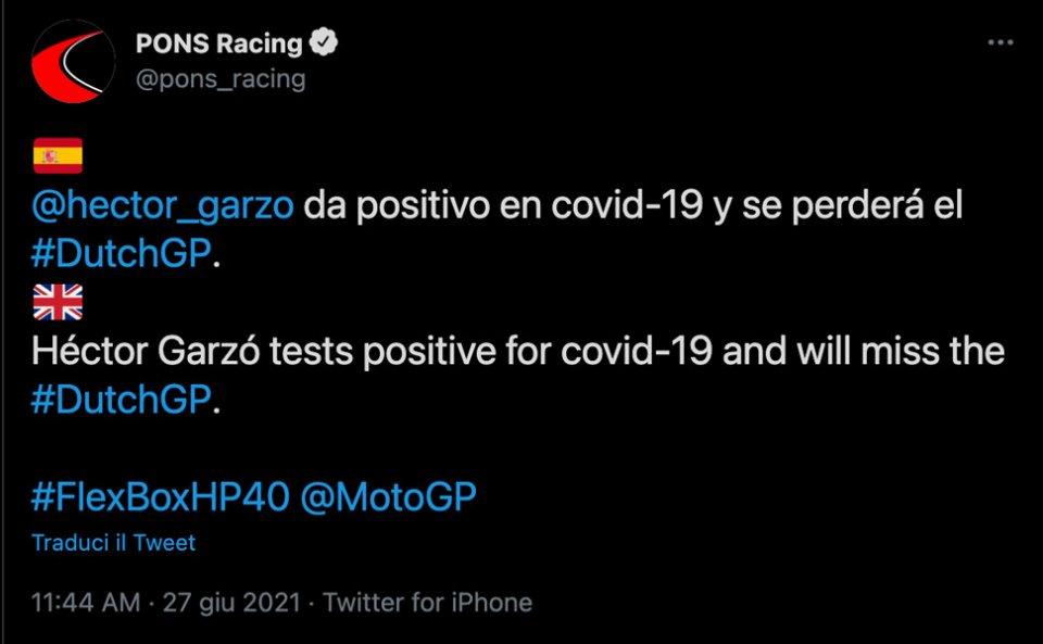 Moto2: Hector Garzo positivo al Covid: salterà la gara di Assen