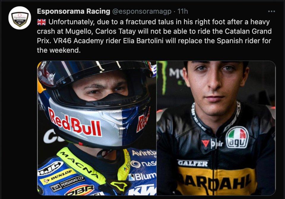 Moto3: Fractured talus for Tatay, Bartolini will replace him in Barcelona