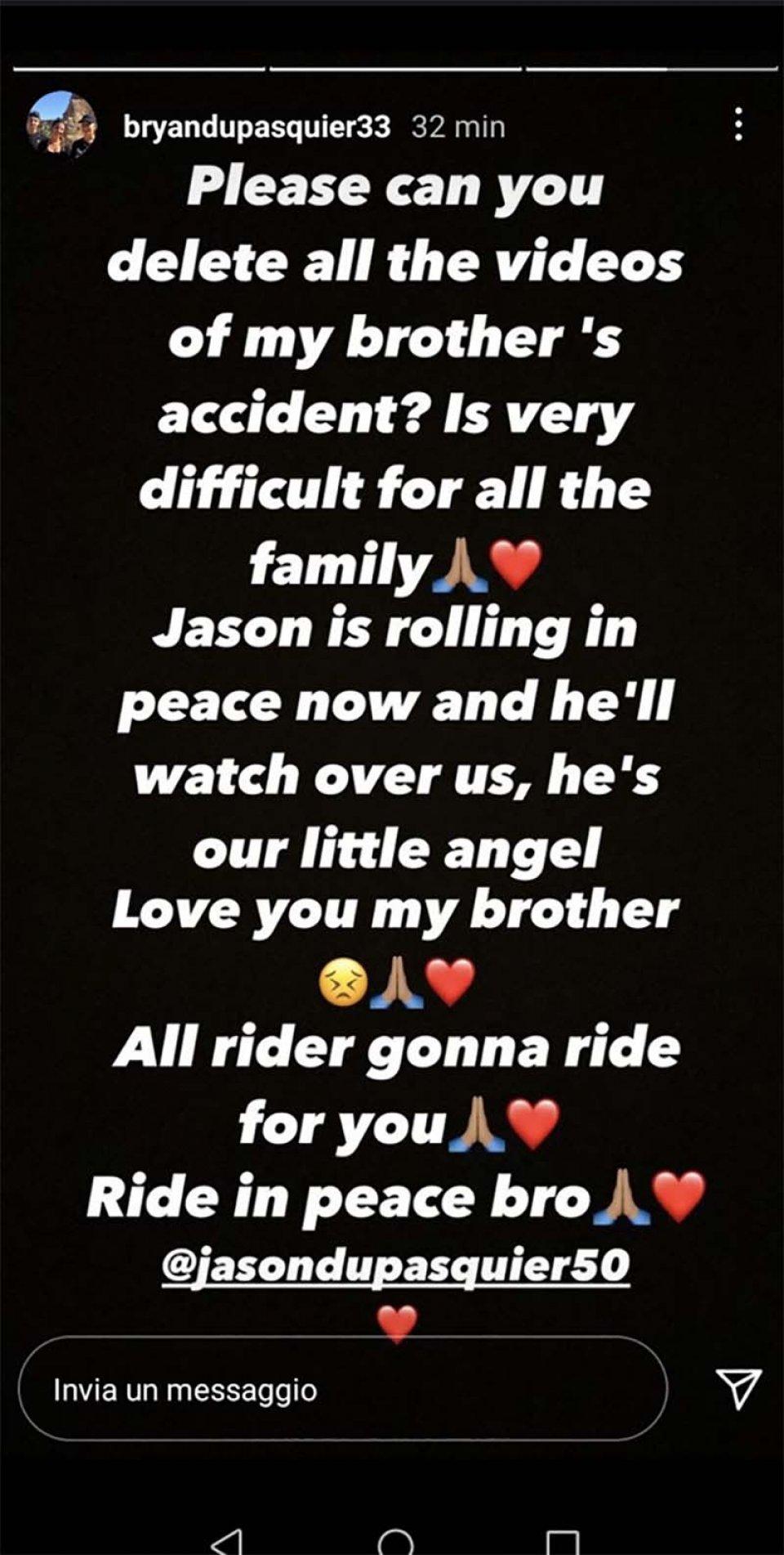 Moto3: Il fratello di Jason Dupasquier, Bryan, chiede la rimozione dei video dell'incidente