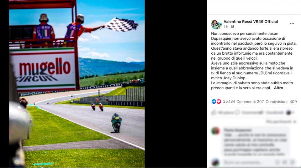 "MotoGP: Il saluto il Valentino Rossi a Dupasquier: ""Mi ricordava Joey Dunlop"""