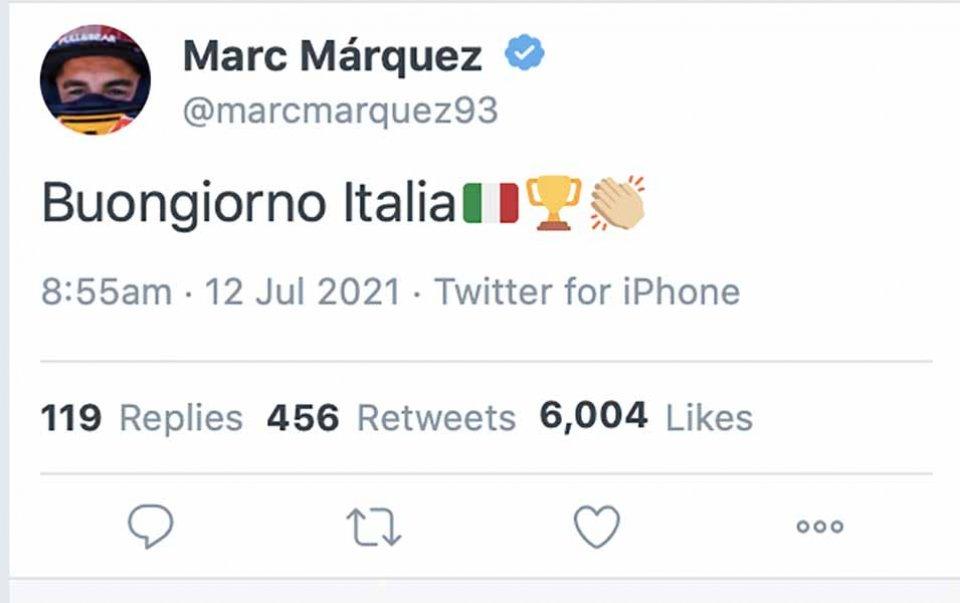 MotoGP: Marquez twitta 'Buongiorno Italia' per festeggiare la vittoria nell'Europeo