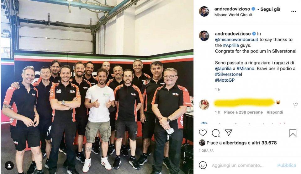 MotoGP: Dovizioso su Instagram ringrazia Aprilia durante i test di Vinales a Misano