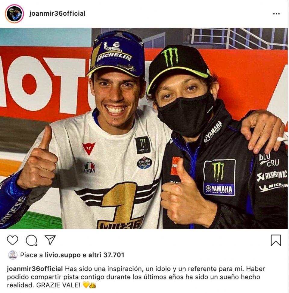 MotoGP: Amici e rivali: l'omaggio sui social a Valentino Rossi