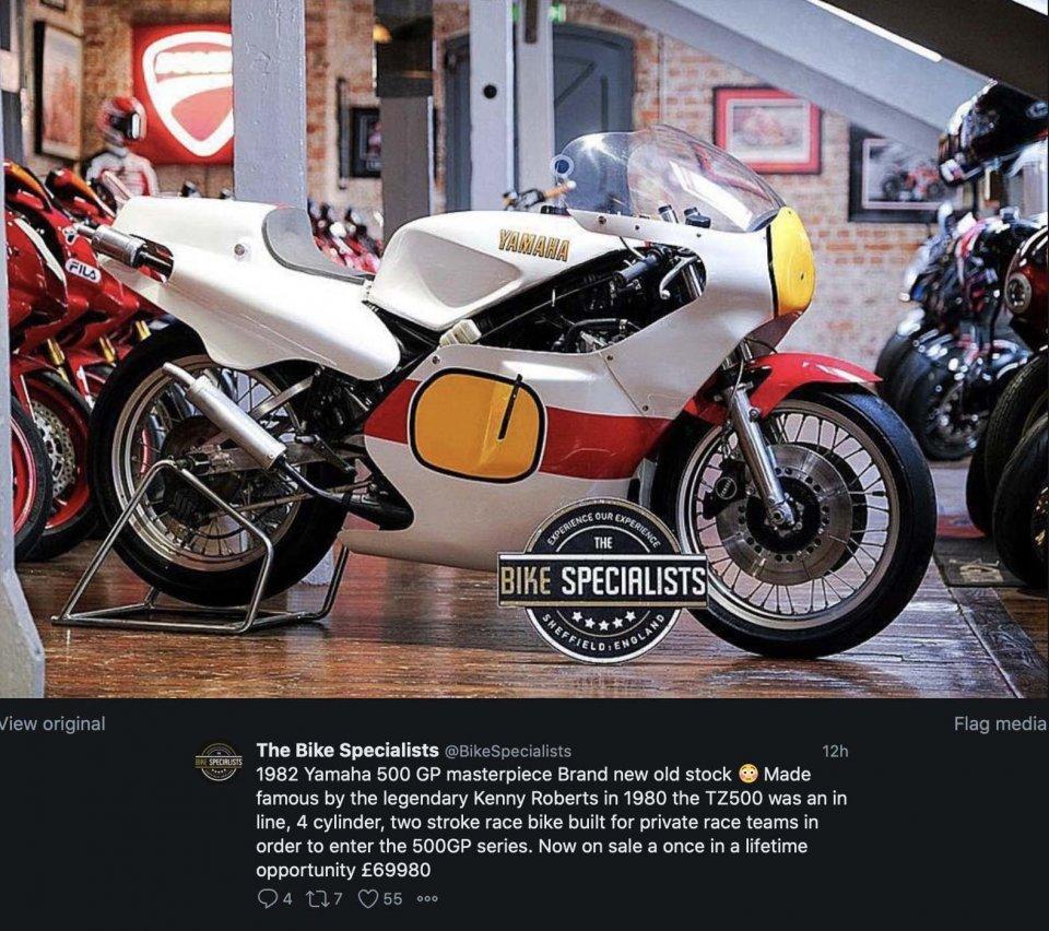 MotoGP: Yamaha 500 da Gran Premio, nuova, in vendita a 80.000 Euro