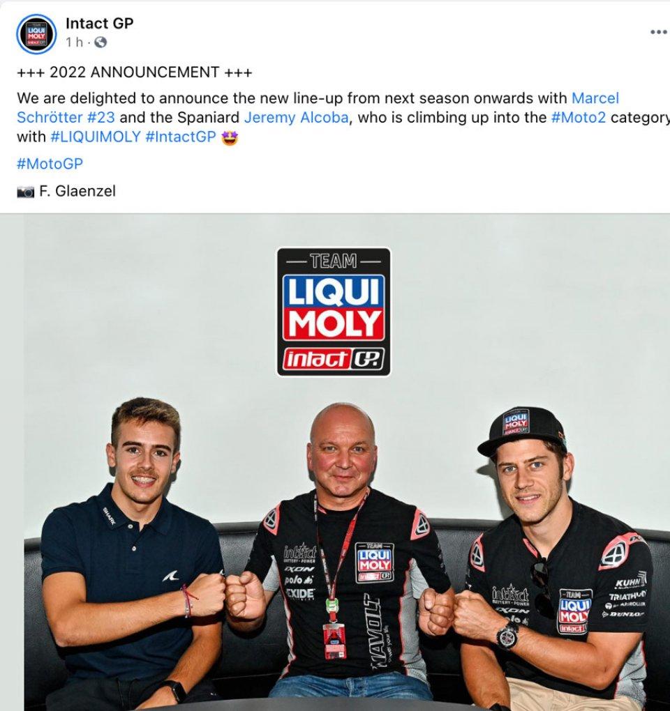 Moto2: Alcoba e Schrotter: ecco la nuova coppia di Intact GP per il 2022