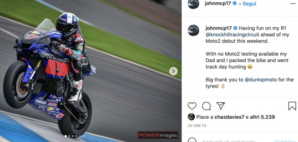 Moto2: John McPhee, training at Knockhill in view of the debut in Moto2