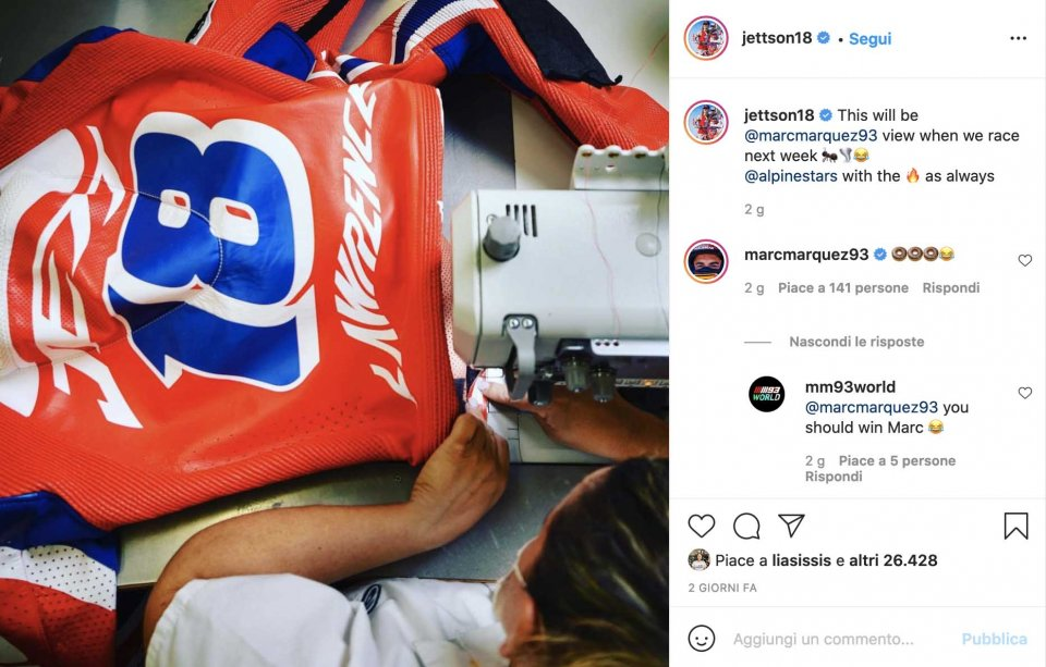"""MotoGP: Jeff Lawrence challenges Marc Marquez: """"you'll only see the back of my suit!"""""""