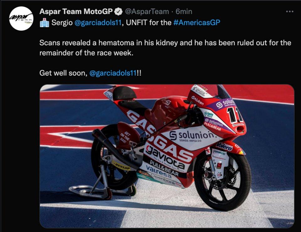 Moto3: Addio sogni iridati: Sergio Garcia 'unfit', non correrà ad Austin