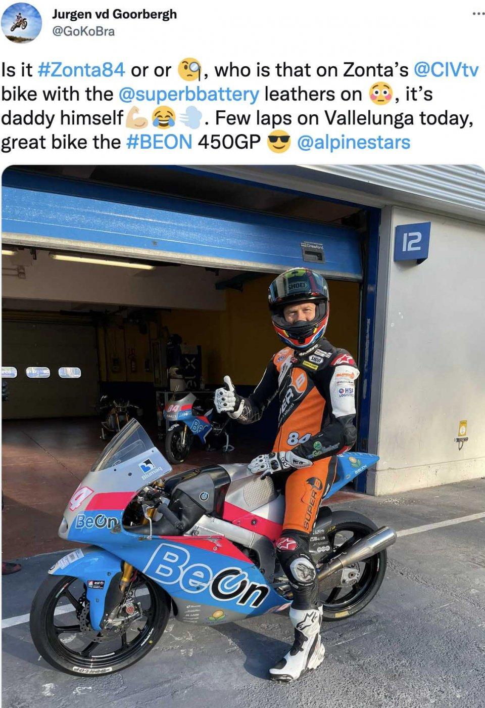 Moto3: Jurgen Van Den Goorbergh, at 52 years old riding the BeOn at Vallelunga