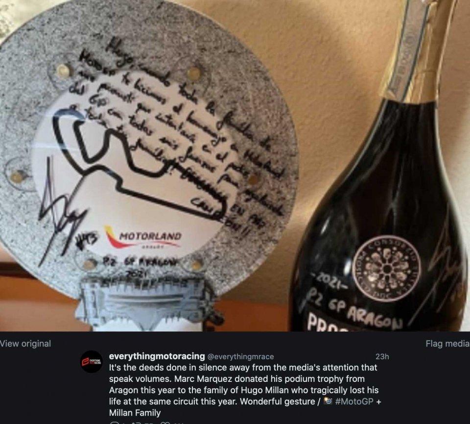 MotoGP: Marquez ha donato il trofeo di Aragon alla famiglia di Hugo Millan