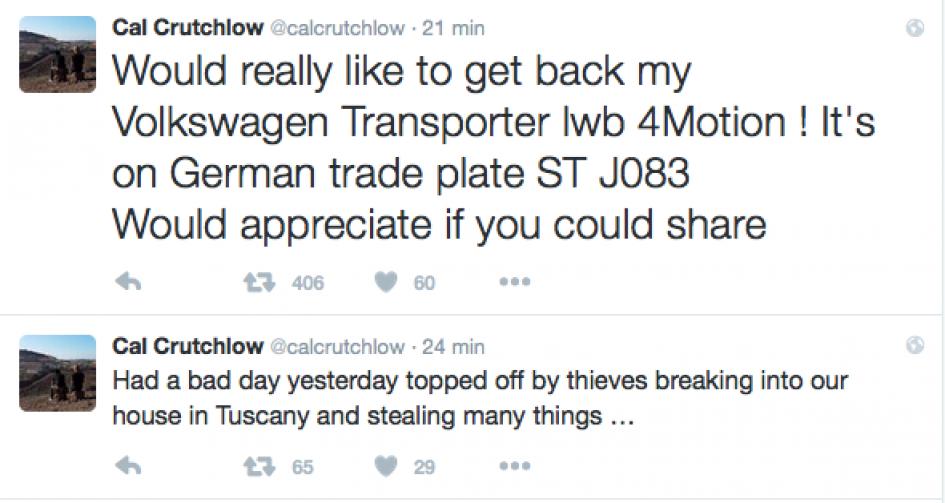 Burglary at Crutchlow's home, van stolen