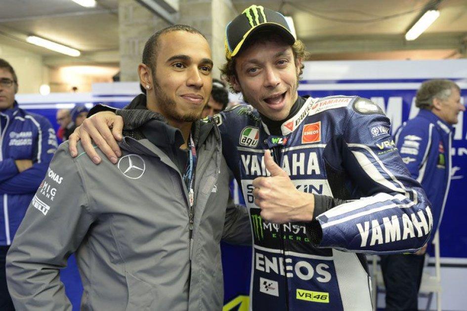 Lewis Hamilton on Rossi's Yamaha