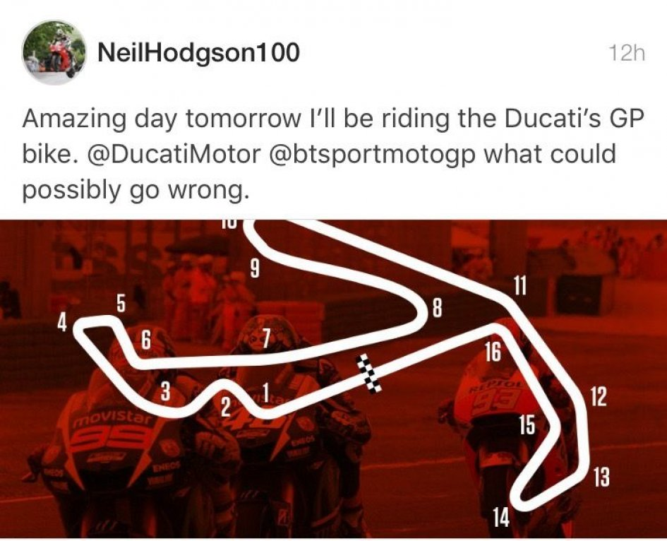 Neil Hodgson riding the Desmosedici in Misano