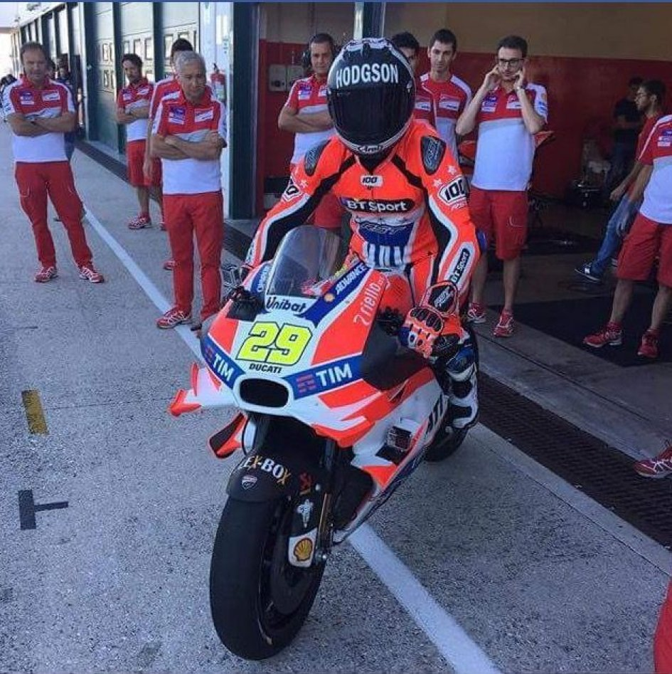 Neil Hodgson riding the Ducati GP16 of Andrea Iannone