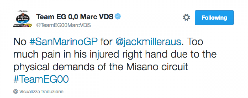Miller dà forfait a Misano: troppo dolore alla mano