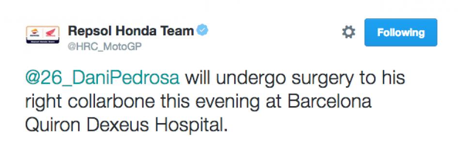 Pedrosa will undergo surgery this evening in Barcelona