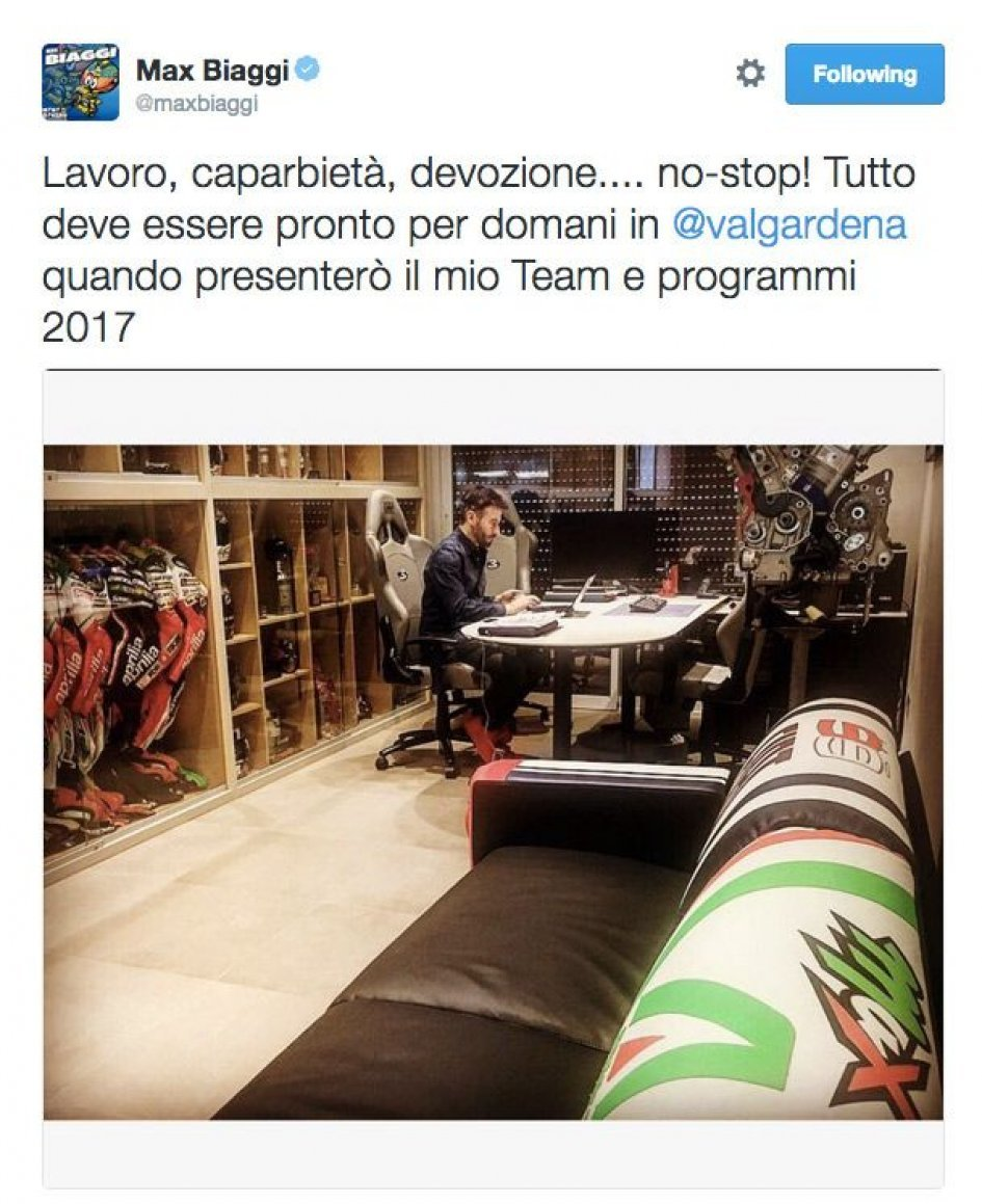 Max Biaggi at work for the presentation of his team