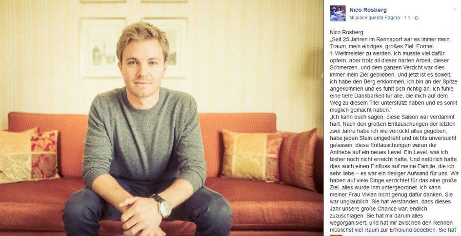 Nico Rosberg come Stoner:  troppo stress, F. 1 addio