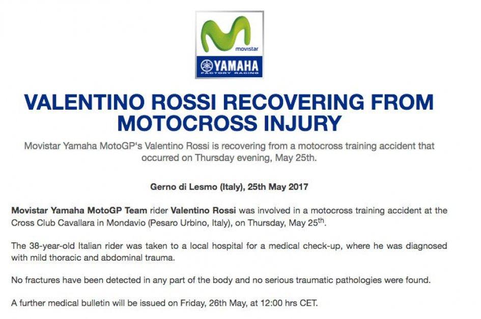 Scampato pericolo per Rossi: escluse fratture o traumi gravi