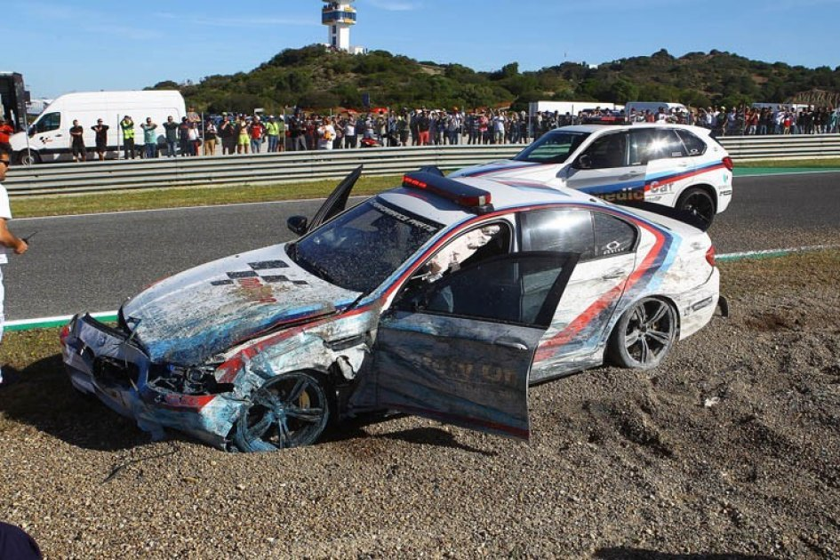 Motogp Franco Uncini Accident With The Safety Car At Jerez Gpone Com