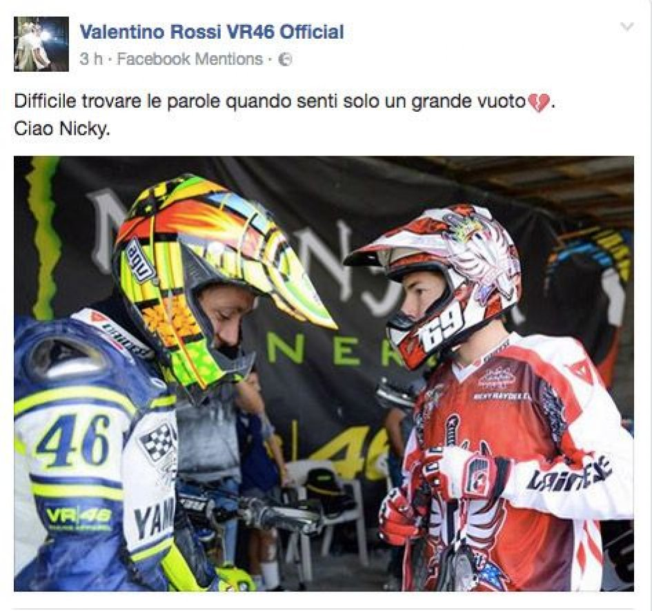 Incidente per Valentino Rossi