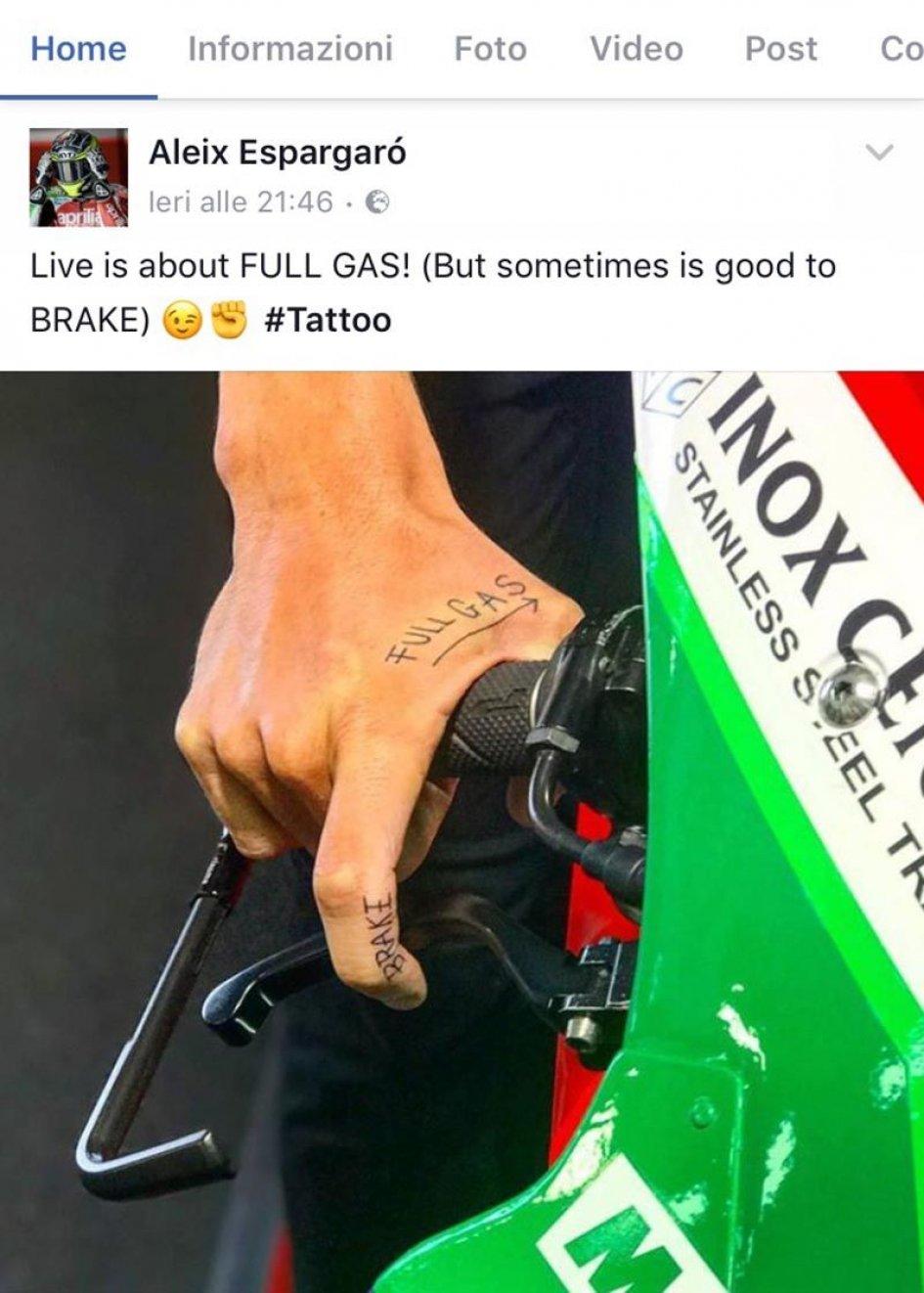 MotoGP: Aleix Espargarò: un tatuaggio a tutto gas