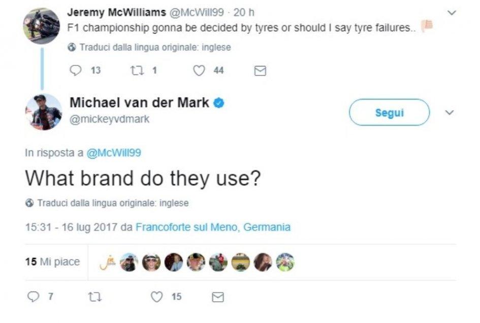 SBK: van der Mark, a pop at Pirelli in a tweet