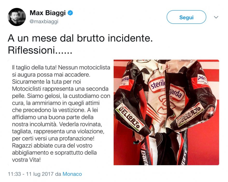 SBK: Max Biaggi: reflections on a cut suit