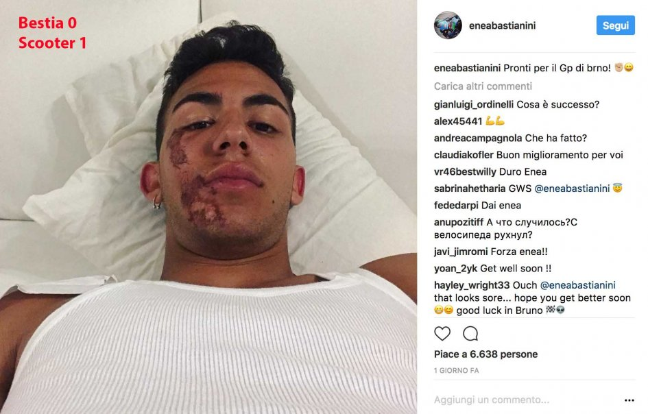 Moto3: 'Bestia' 0 - Scooter 1: Bastianini on the ground with the scooter