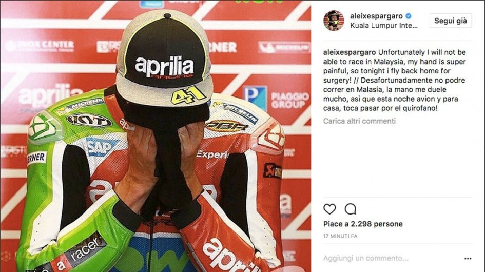 MotoGP: Aleix Espargaró to miss the GP of Malaysia and to undergo surgery
