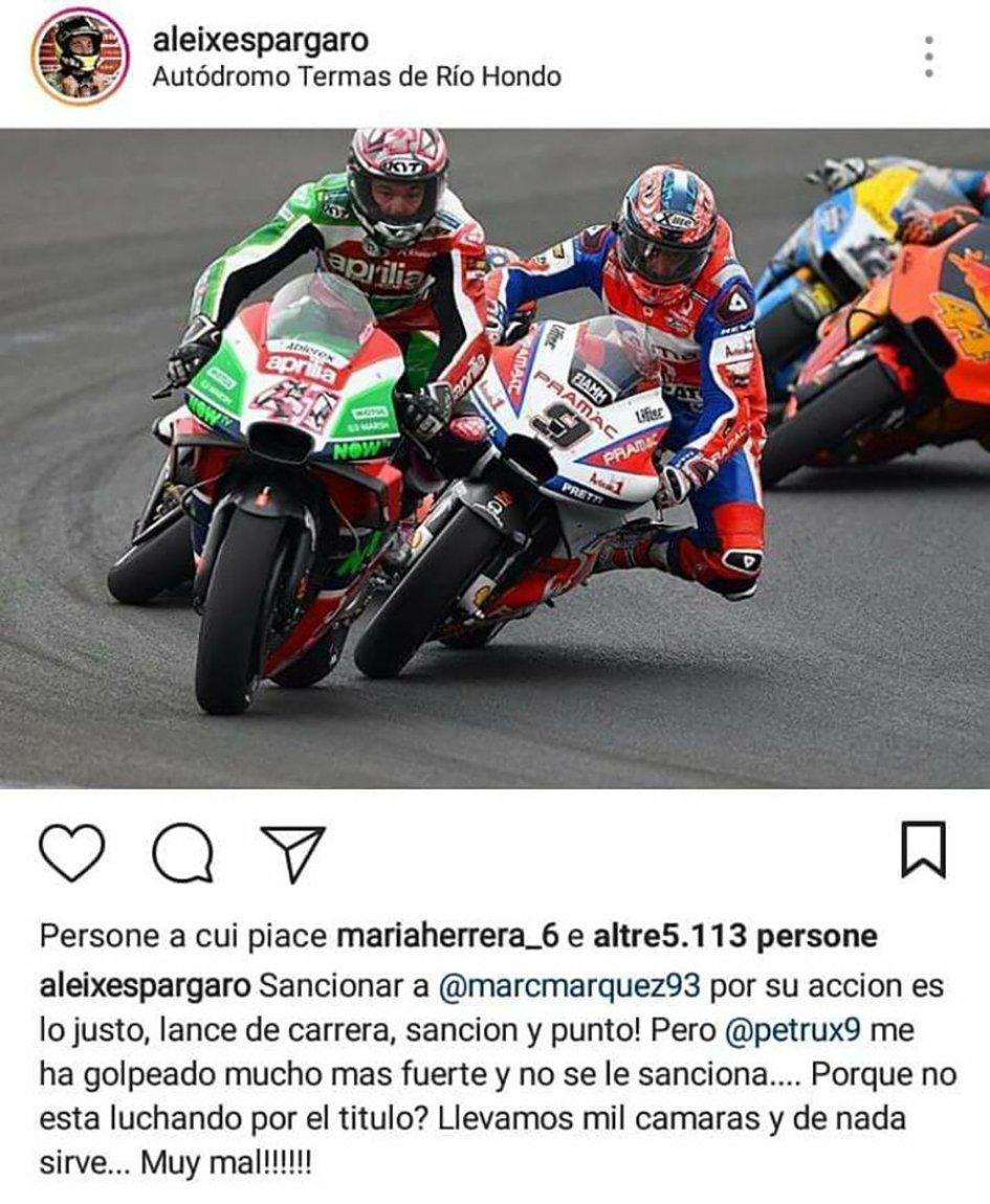 MotoGP: Aleix Espargarò: punire Marquez? Certo, ma anche Petrucci