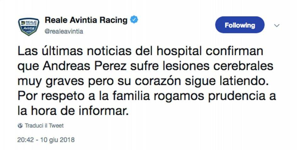 Moto3: CEV: Serious brain damage for Perez but his heart still beats