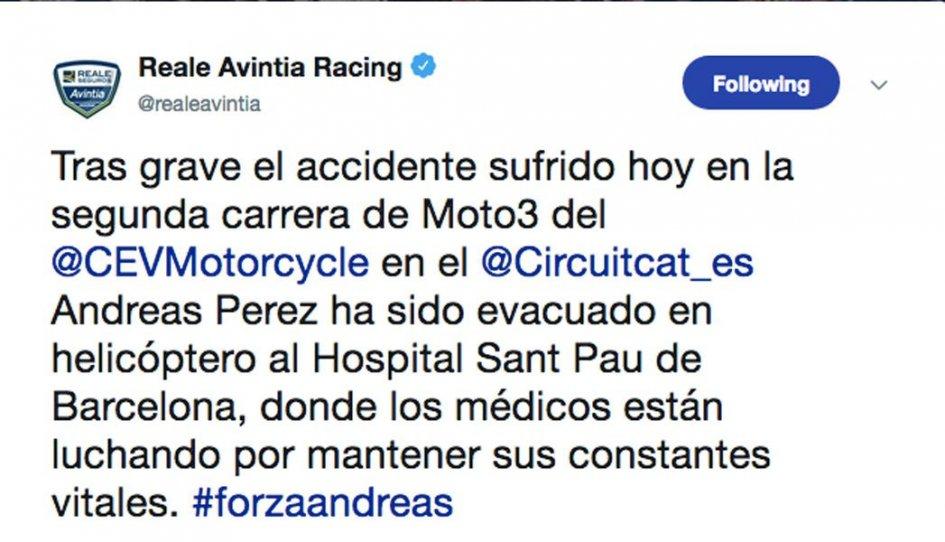 Moto3: CEV: Perez in grave condizioni dopo un'incidente in gara