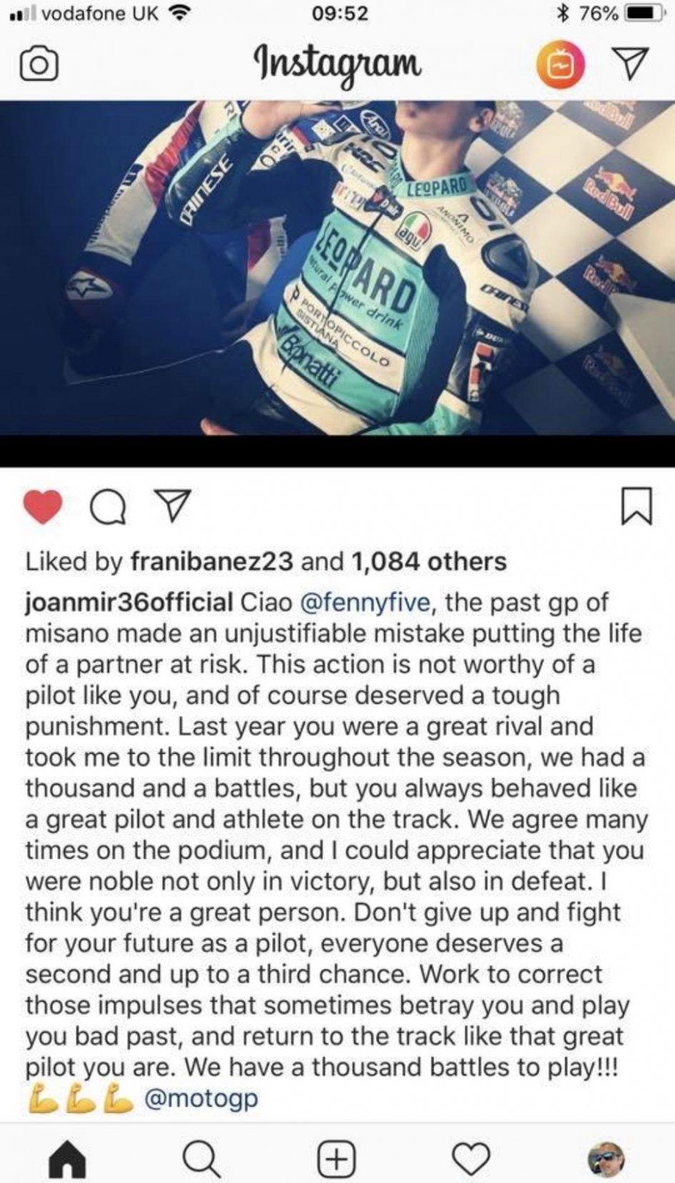 Moto2: Joan Mir 'spezza una lancia' per Romano Fenati