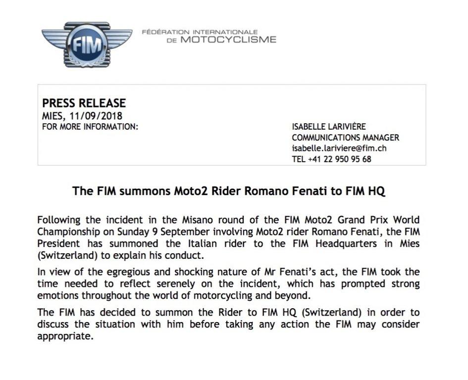 Moto2: La FIM convoca Romano Fenati a Ginevra!