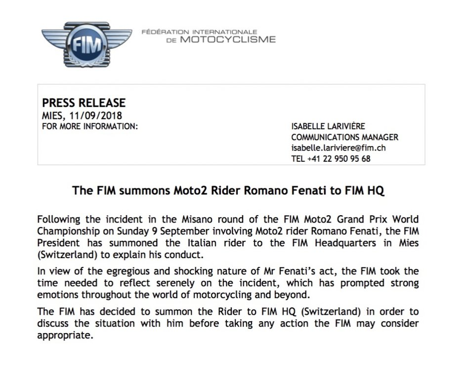 Moto2: The FIM summons Romano Fenati to Geneva!