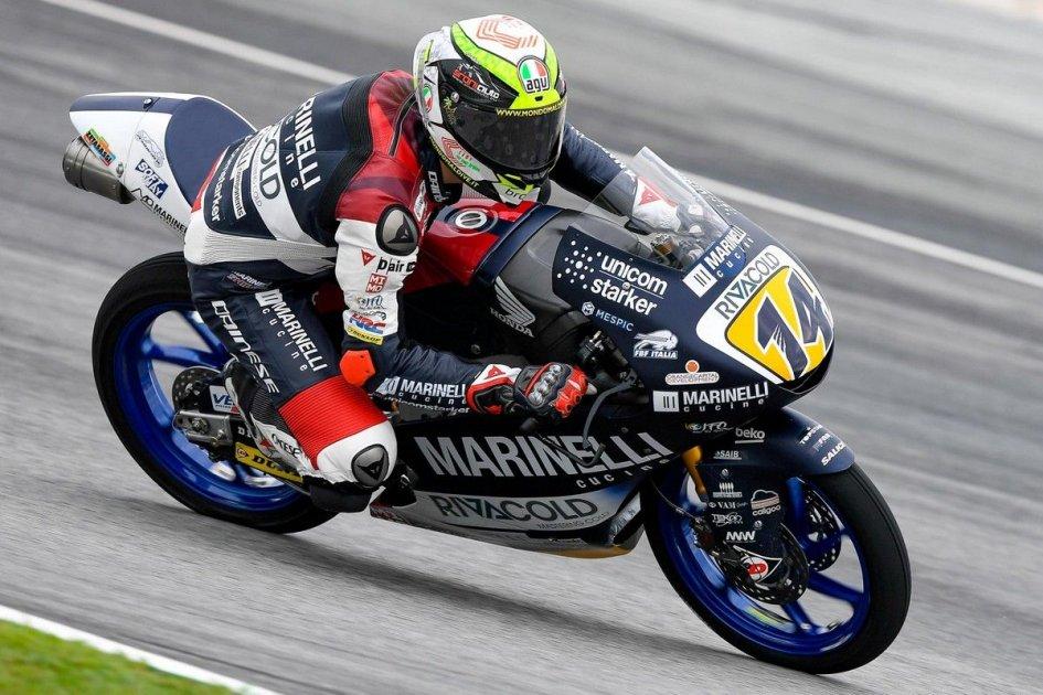 Moto3: QP: con gomme slick Arbolino sfida il bagnato e torna in pole