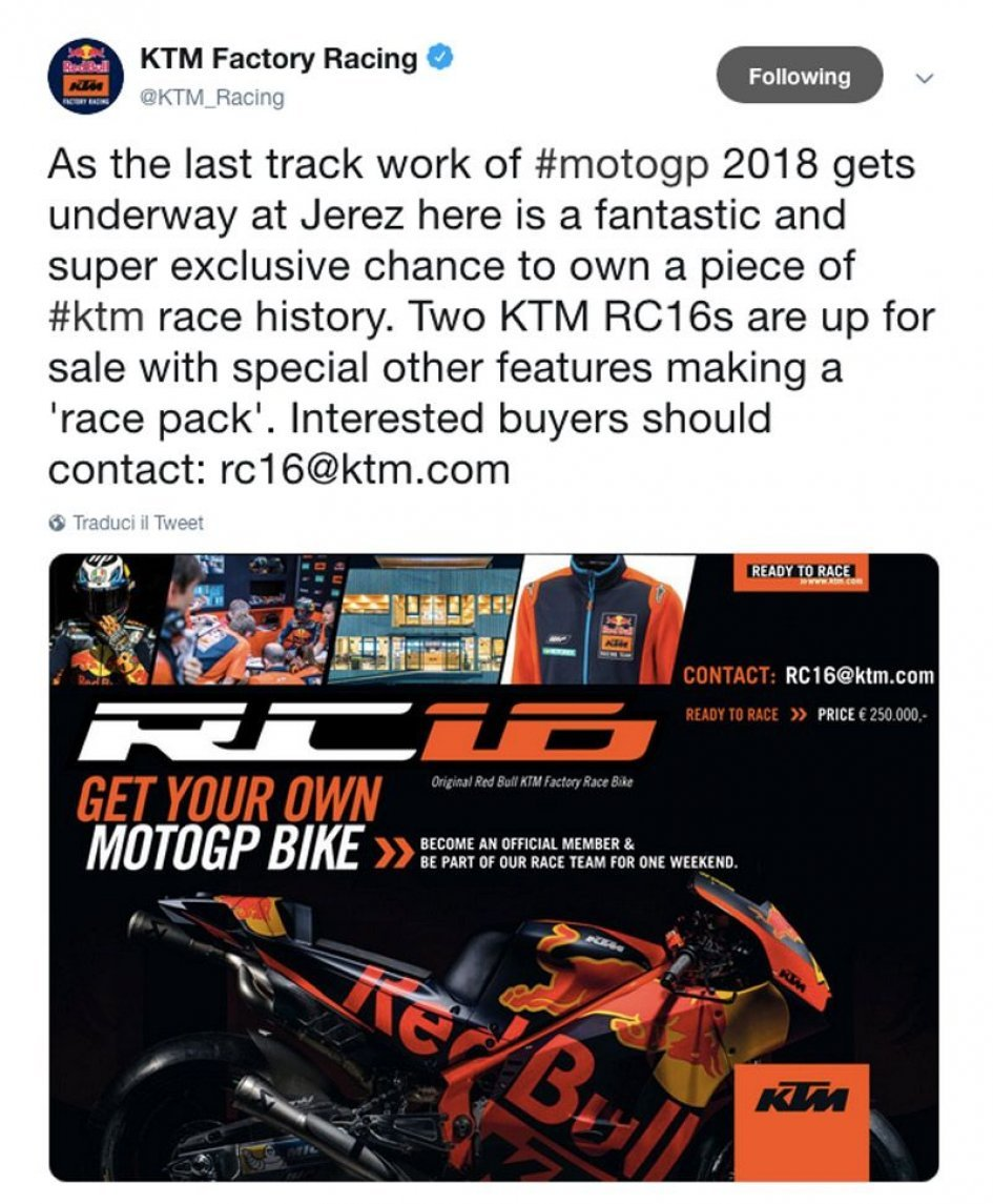 MotoGP: End of season KTM sale: a MotoGP for 250,000 euro